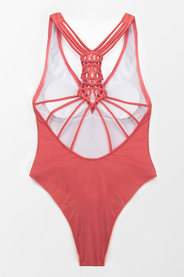 Braided Back and Strappy One Piece Swimsuit