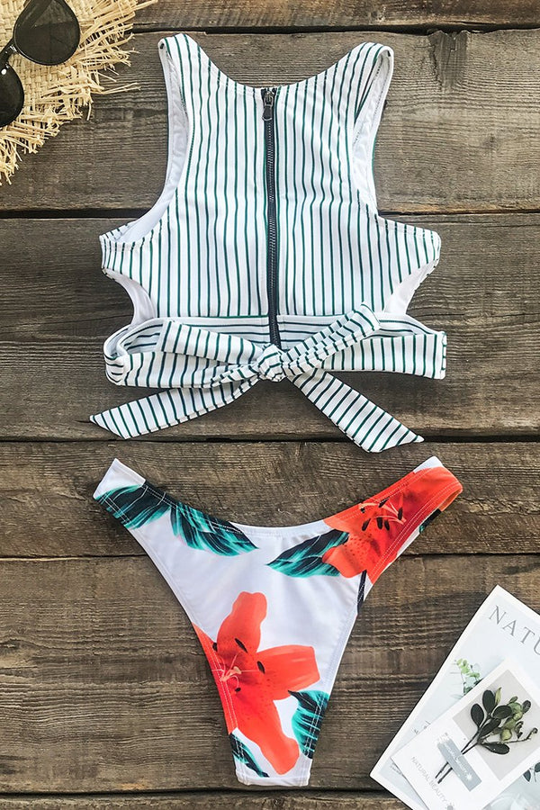 Stripe and Floral High-Leg Bikini