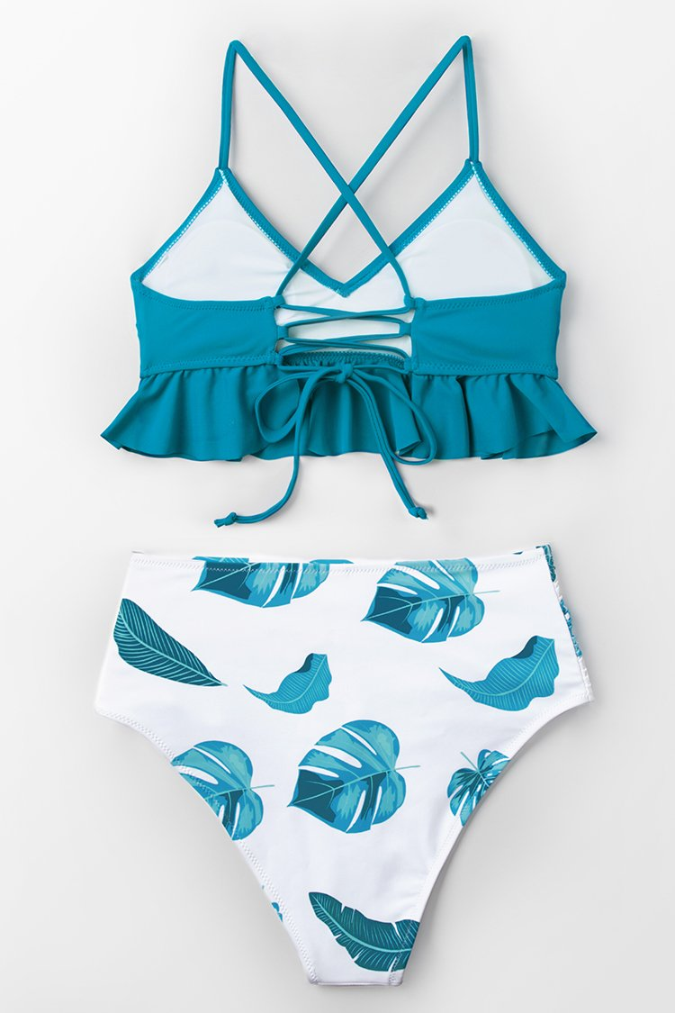 Blue and Leaf Print Ruffled Bikini