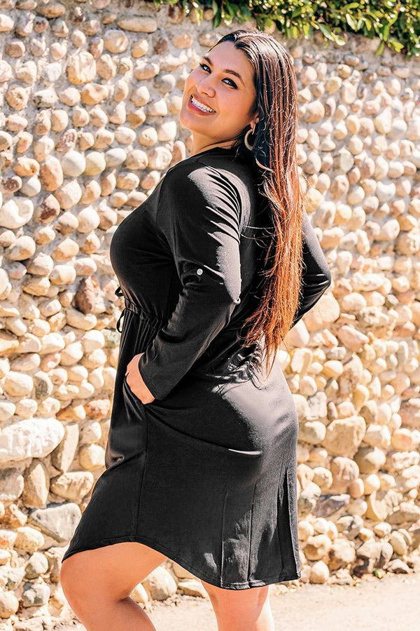 Black Zip Long Sleeve Plus Size Dress