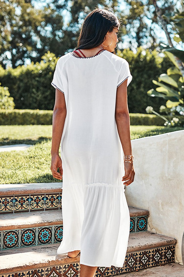 White Midi Cover Up with Crochet Trim