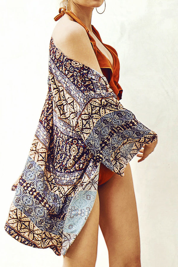 Geometric Print Loose Cover Up