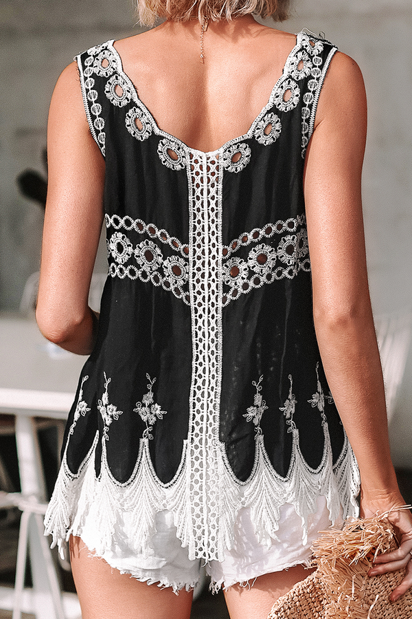 Black and White Embroidered Top