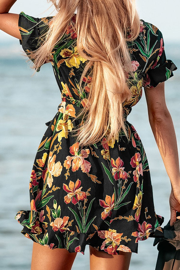Black Hibiscus Print Short Sleeve Mini Dress