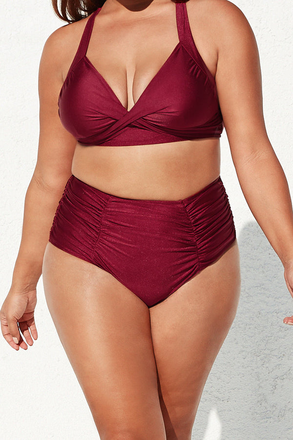 Saige Ruched High Waisted Plus Size Bikini Bottom
