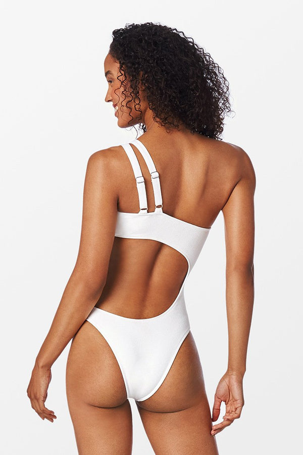 White One Shoulder Cut Out One Piece Swimsuit