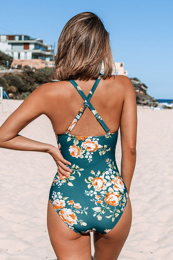Teal Floral Scalloped One Piece Swimsuit