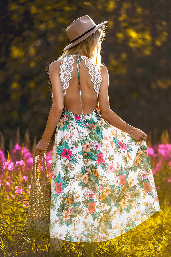 Floral Lace Backless Midi Dress
