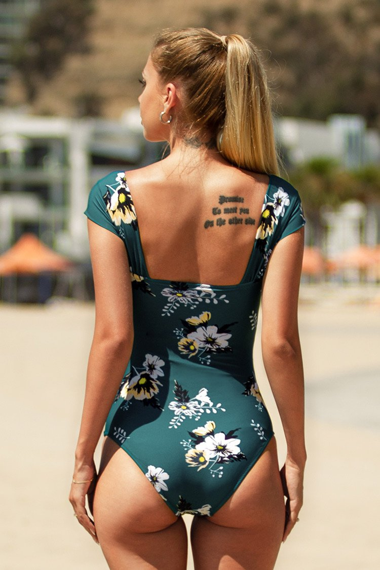 Shirred Floral One Piece Swimsuit