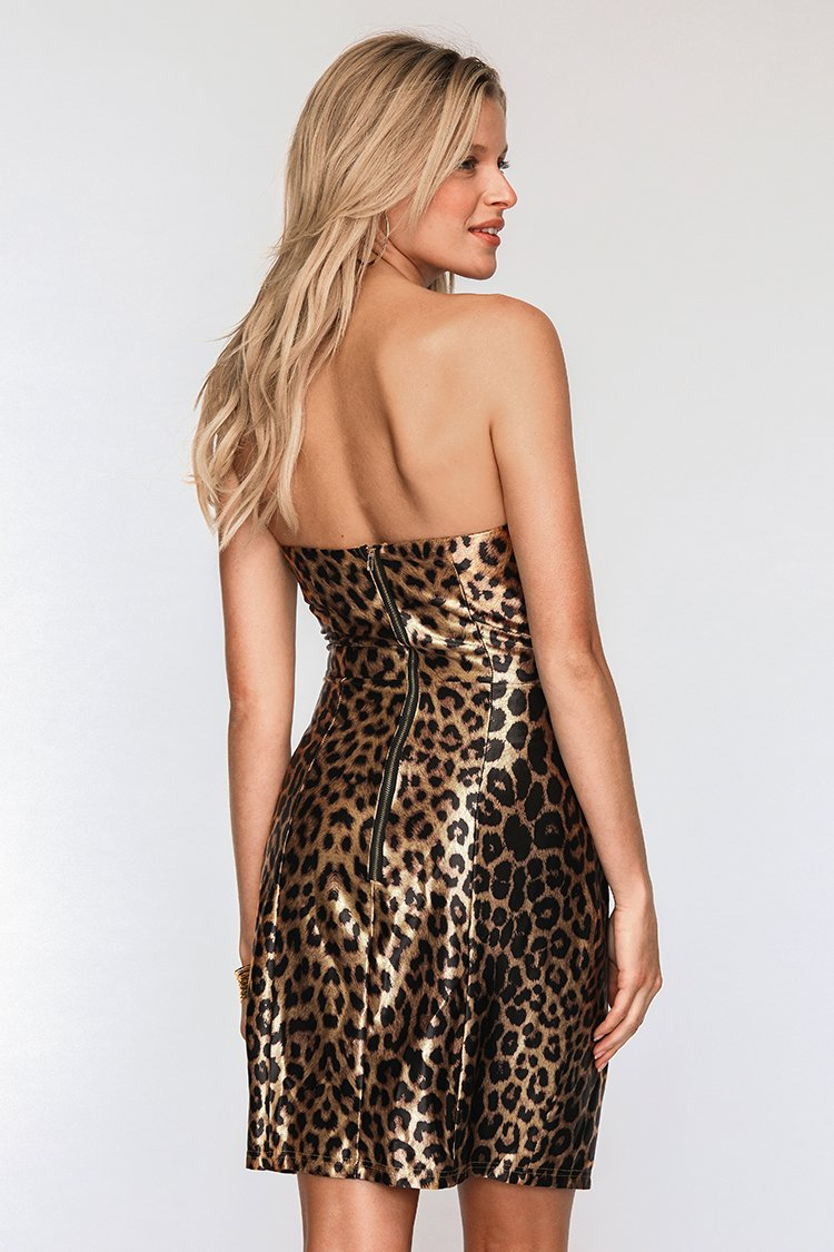 Strapless Leopard Print Bodycon Dress