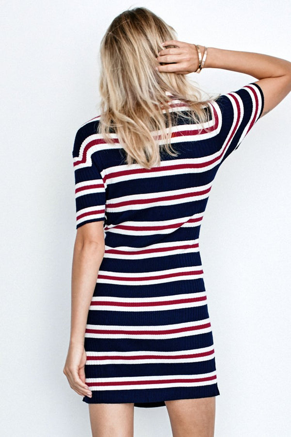 Striped Collared Ribbed Dress