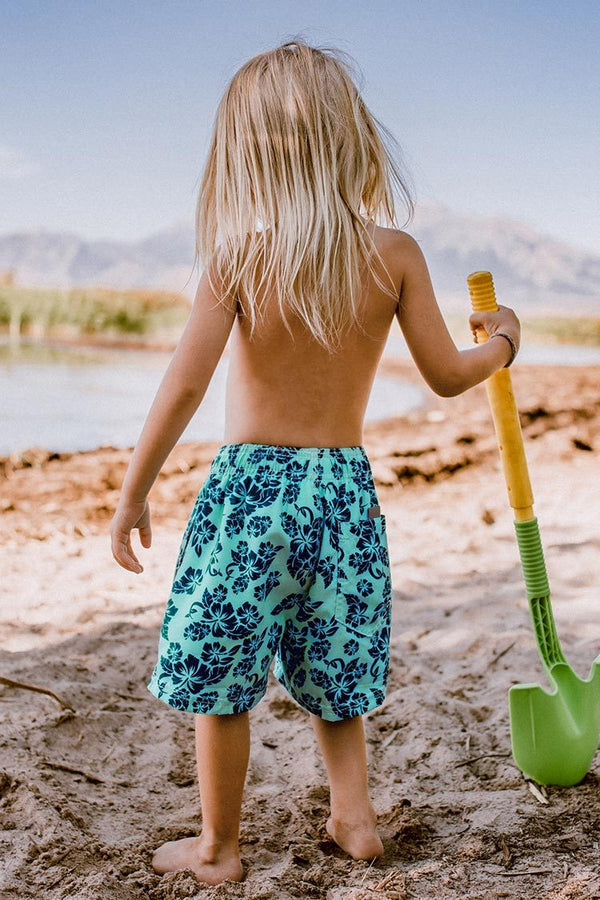 Blue and Black Leafy Print Boys Swim Trunks