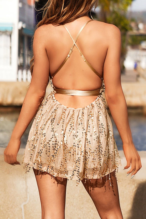 Apricot Sequin Mini Dress