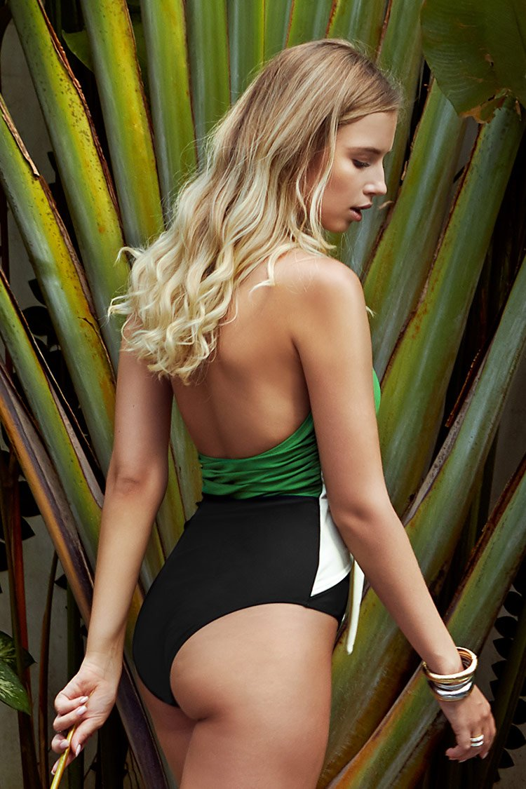 Green Black and White One-Piece Swimsuit