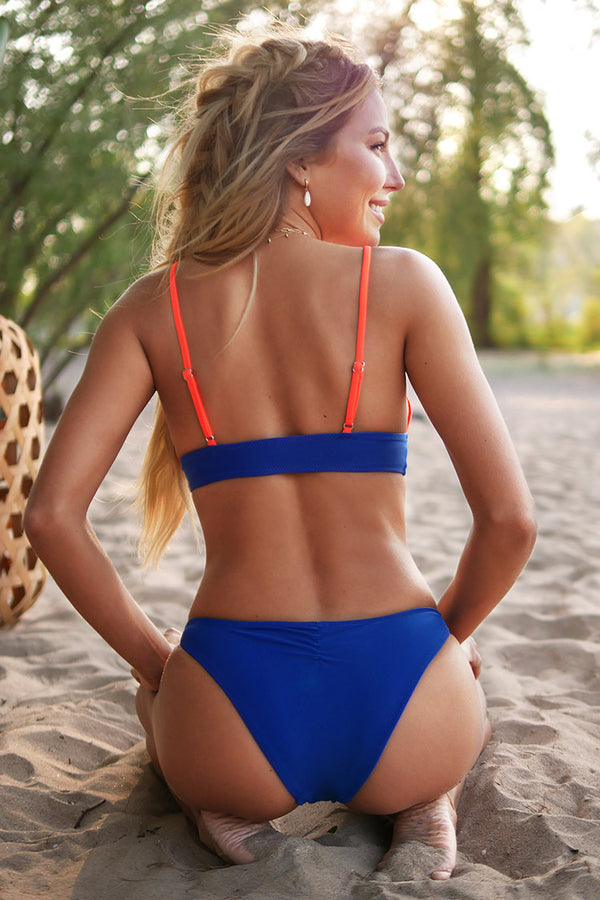 Orange and Blue Triangle Bikini