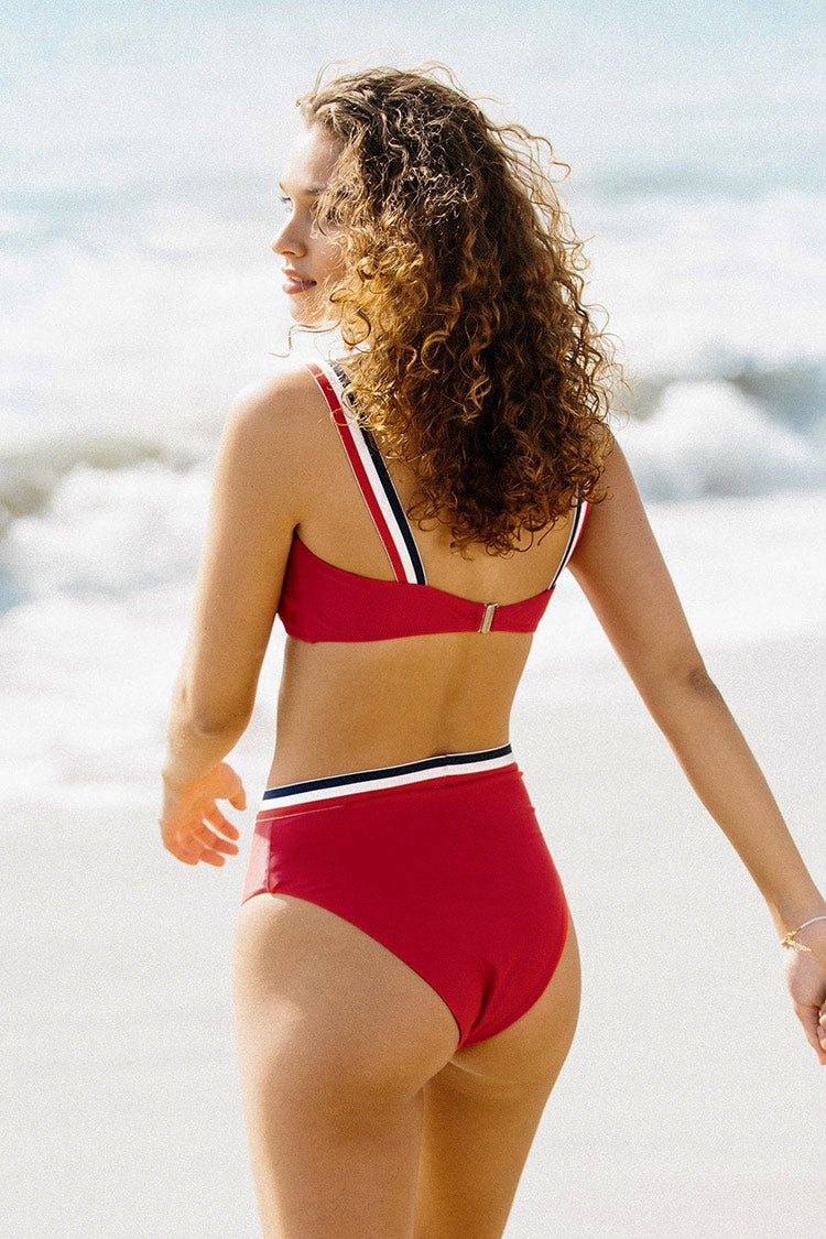 Red Bandeau High-Waisted Bikini
