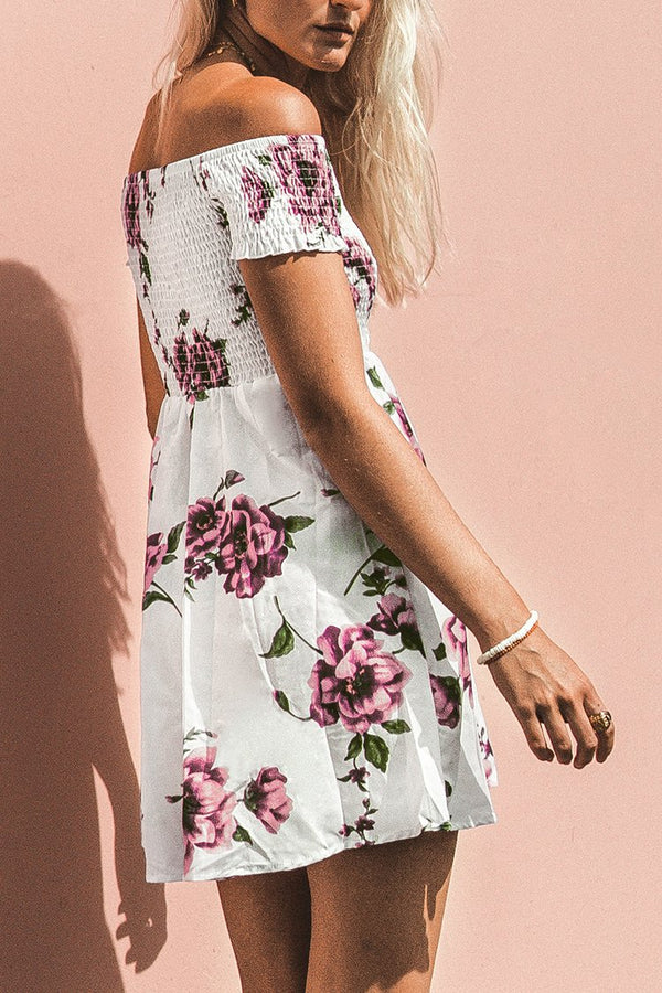Rose Print Smocked Off-the-Shoulder Dress