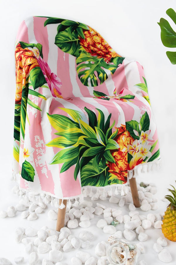 Floral and Pineapple Round Beach Blanket