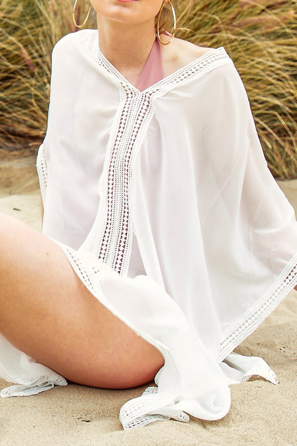 White Chiffon Lace V-neck Cover Up