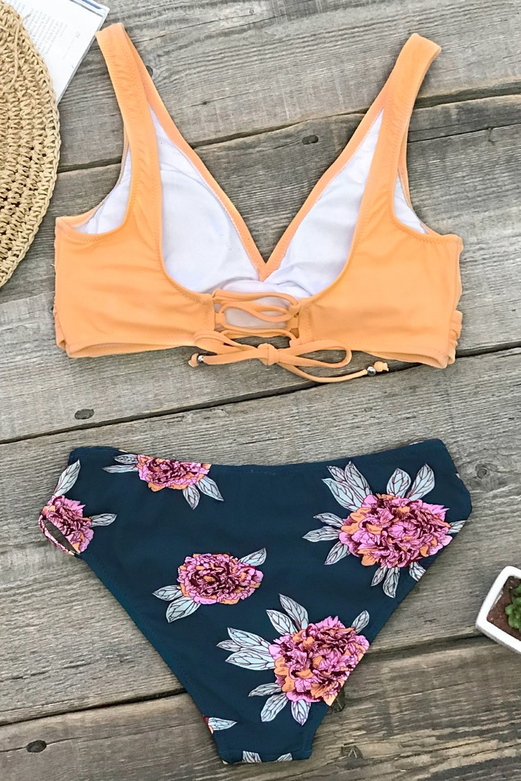 Orange And Purple Floral Lace-Up Bikini