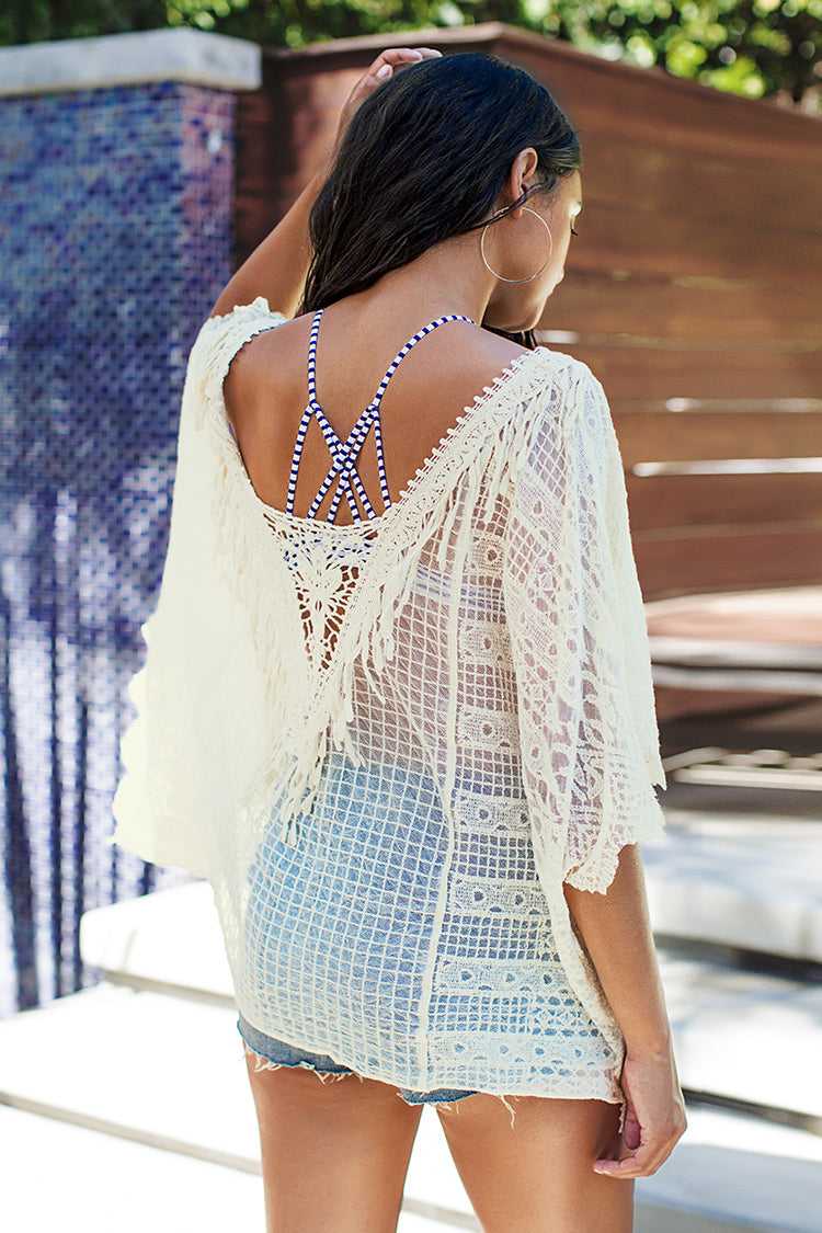 White Bat Sleeve V-Neck Cover Up