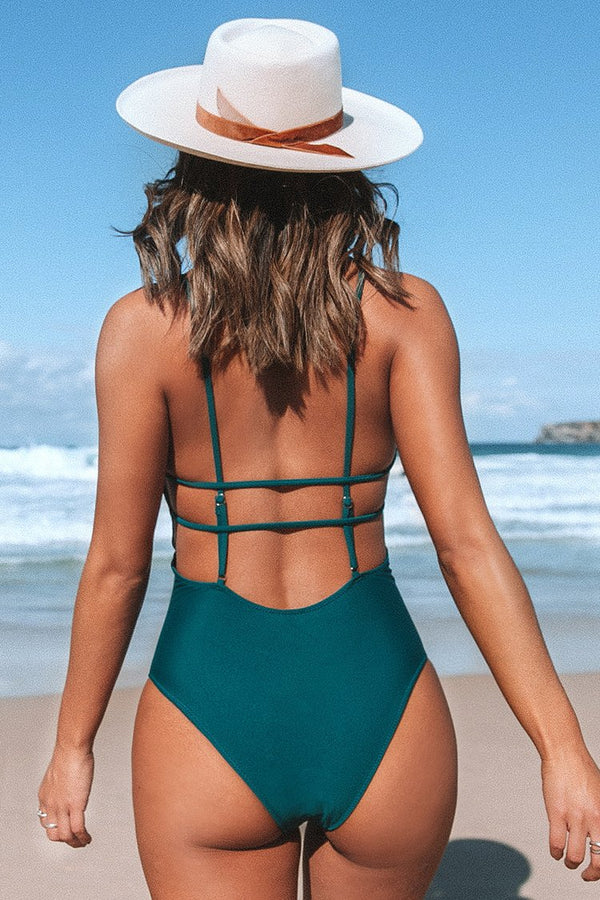 Dark Teal V-neck One-Piece Swimsuit