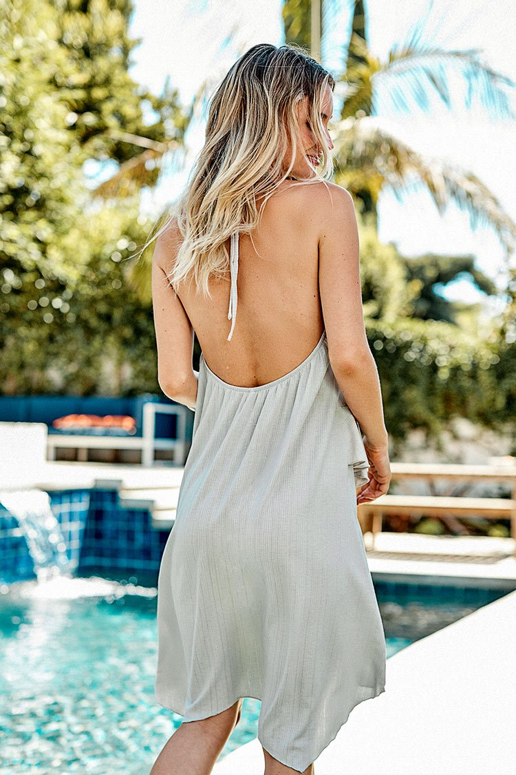 Gray Ruffled Mini Dress