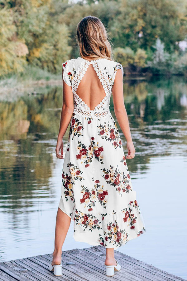 Romantic Floral Backless Midi Dress