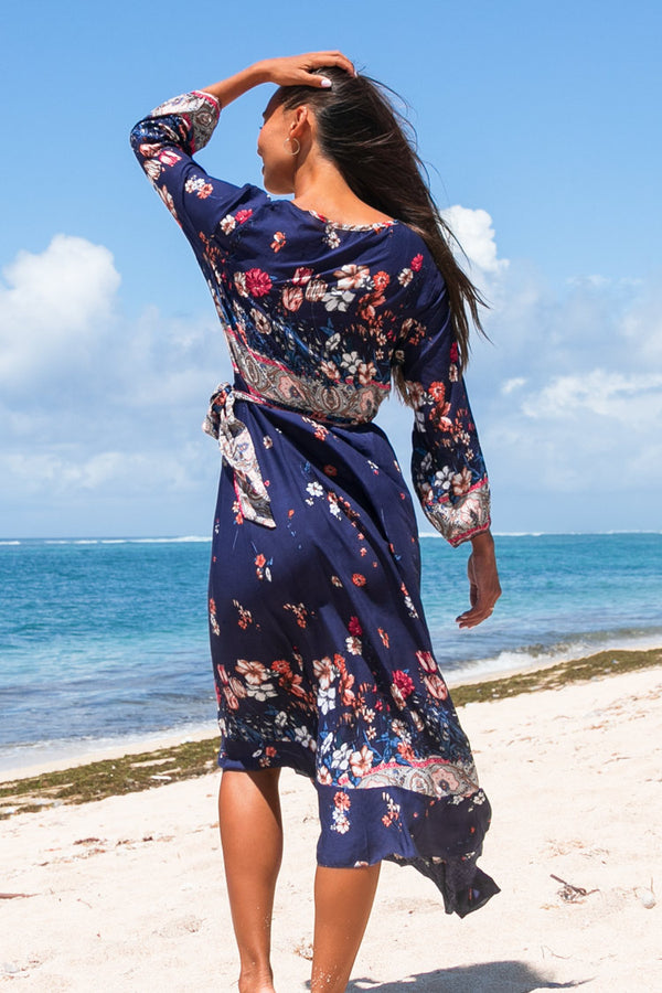 Navy Floral Long Sleeve Wrap Dress