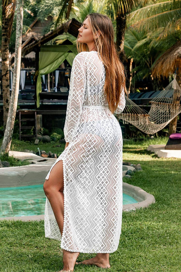White Geometric Embroidered Cover Up