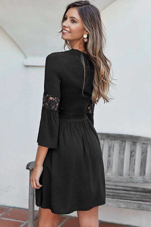 Black Mini Dress with Lace Sleeve
