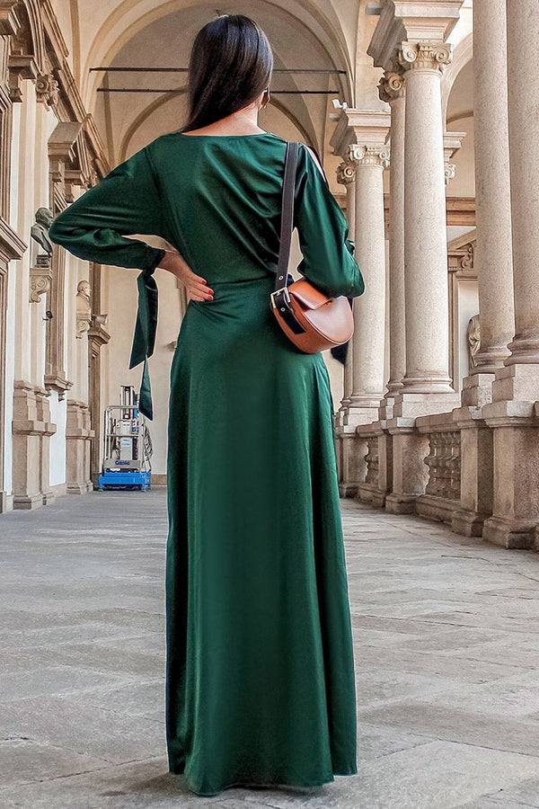Dark Green Deep V-neck Dress