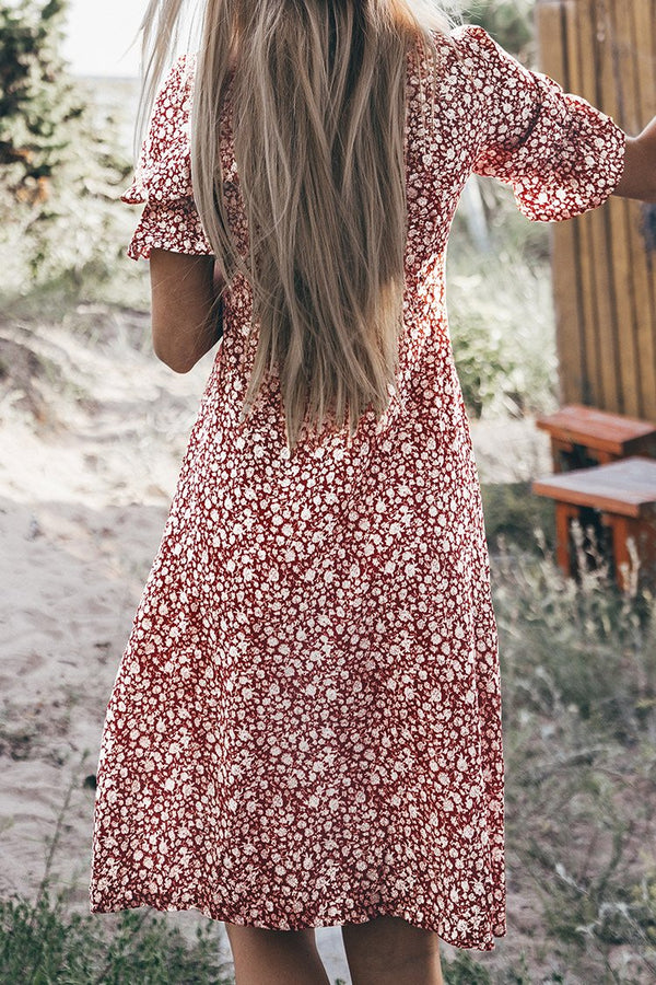 Red Ditsy Floral Front Knot Dress