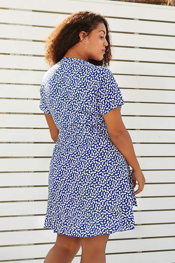 Blue Floral V-Neck Wrap Plus Size Dress