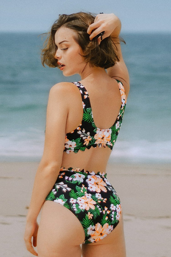 Floral Print Scalloped Edge High-Waisted Bikini