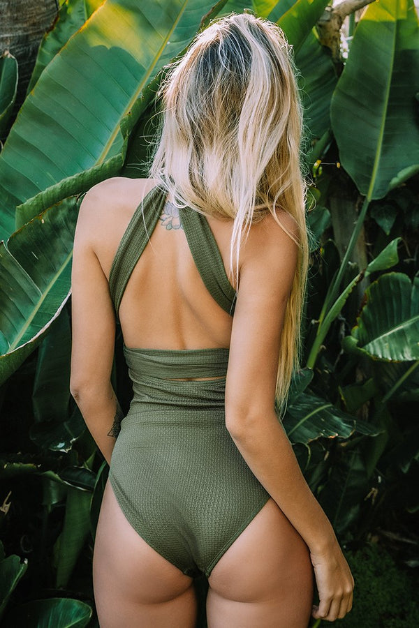 Olive Textured One-Piece Swimsuit
