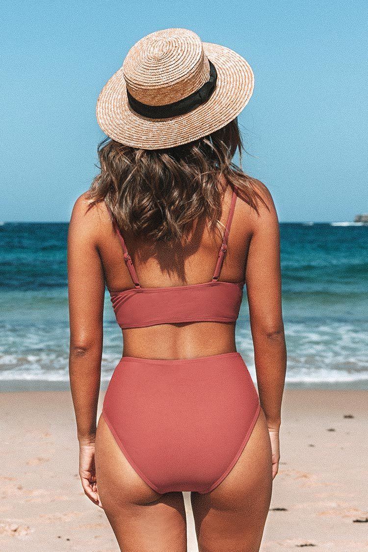 Marsala Twist High Waisted Bikini