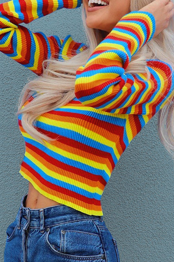 90s Stripe Ribbed Mock Neck Sweater