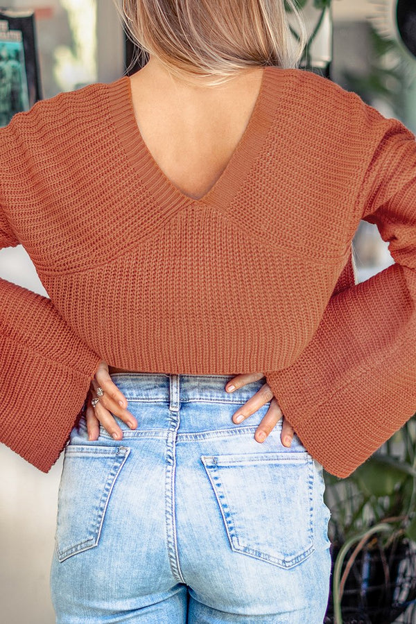 Orange Loose Cropped Sweater