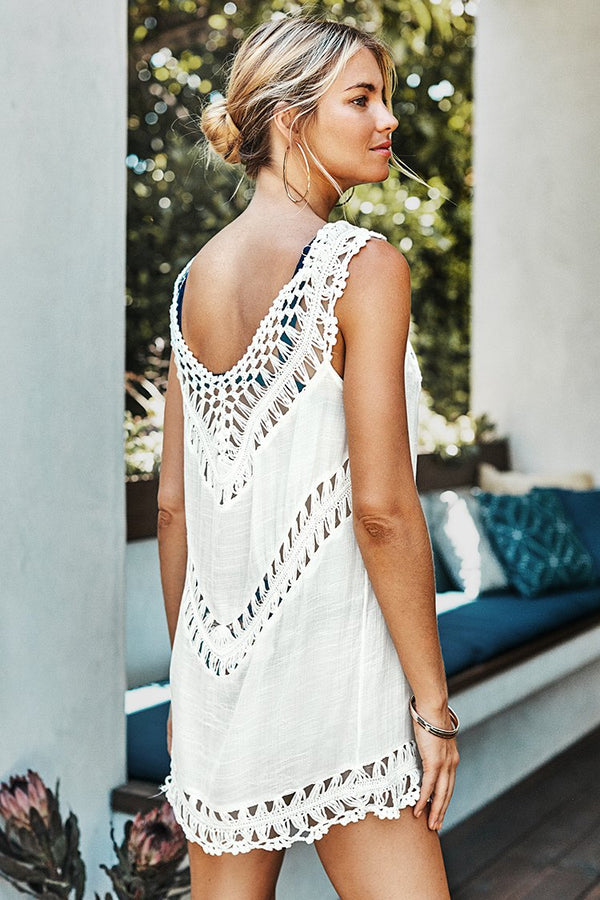 White Crochet Sleeveless Tunic Cover Up