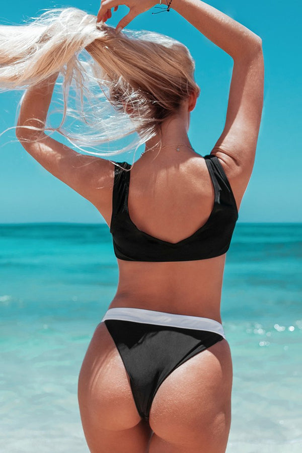 Black and White Colorblocked Bikini