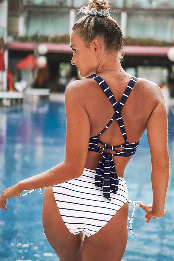 Stripe Twist Bikini with Lace Up Design