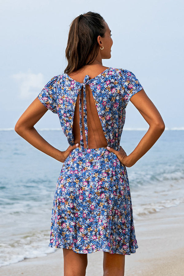 Blue Floral Open Back Short Dress