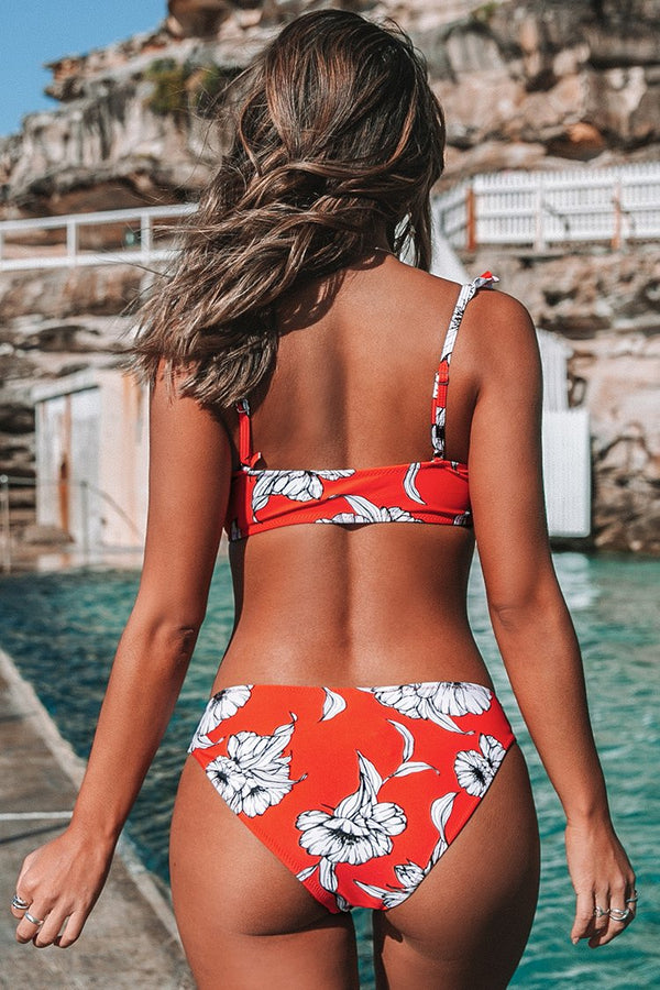 Red Floral Knotted Ruffled Bikini