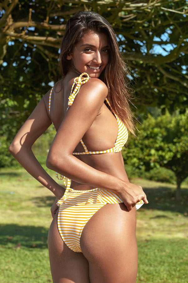 Yellow and White Striped Ruffled Bikini