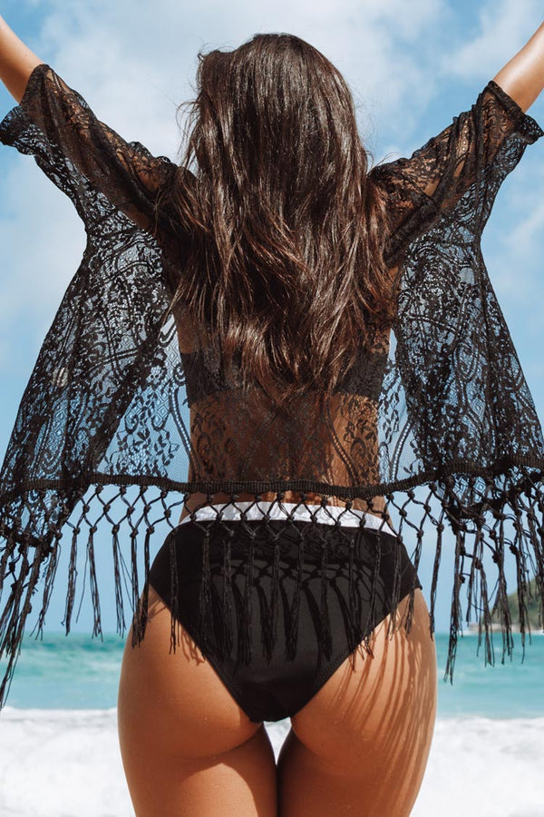 Black Fringed Short Cover Up