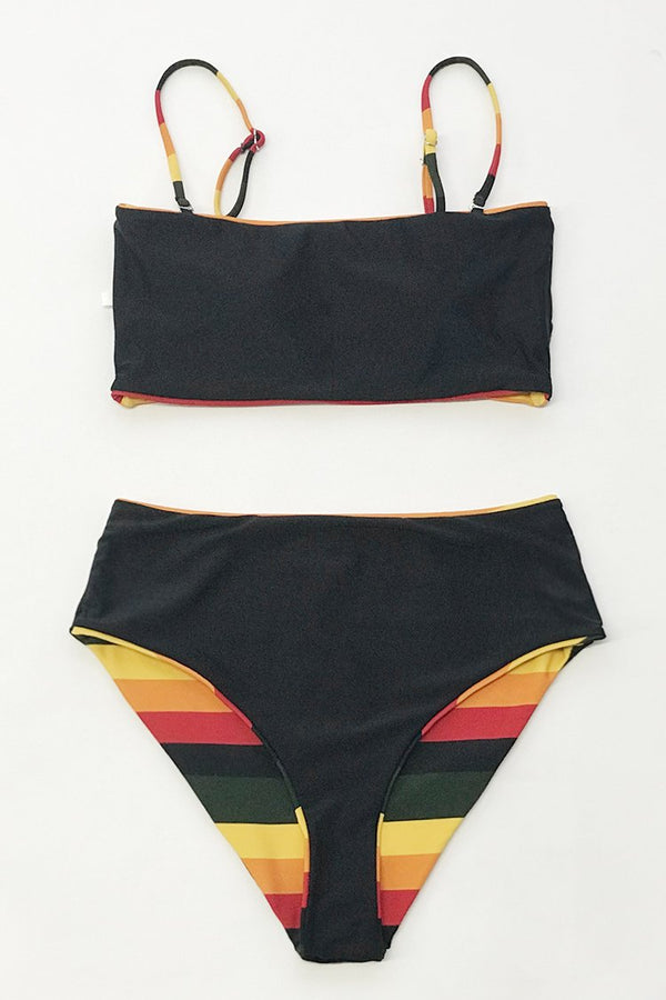 Black and Yellow Stripe Reversible Bikini