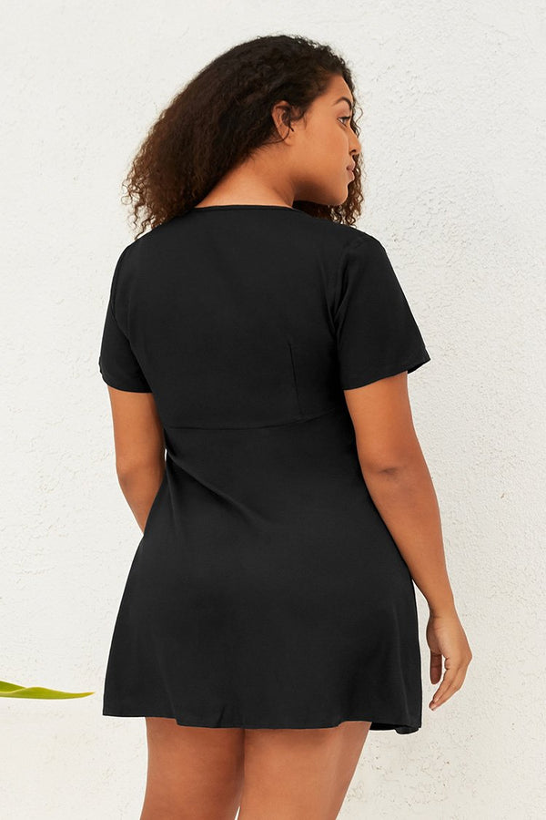 Black Buttoned Plus Size Dress