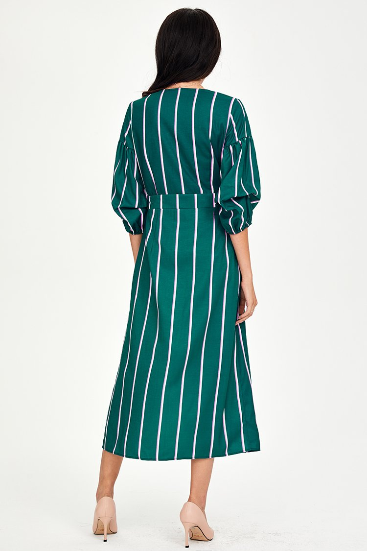Green Striped Buttoned Midi Dress
