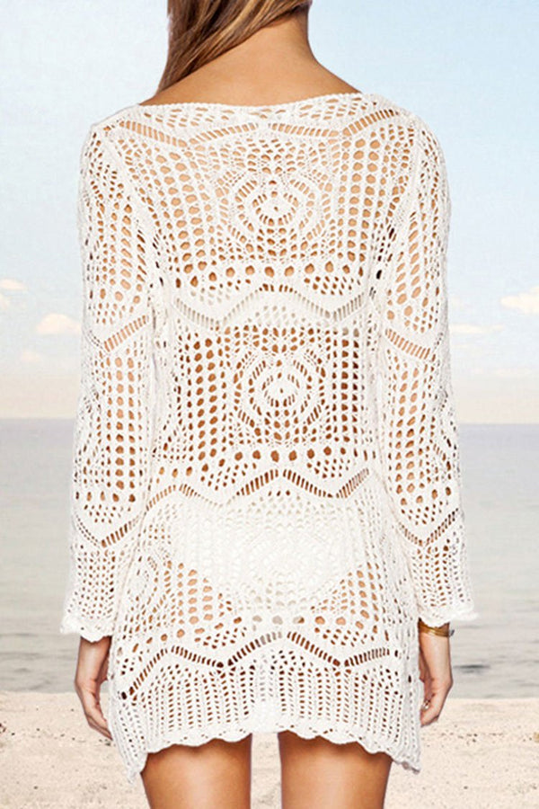 White Crochet V-Neckline Cover Up